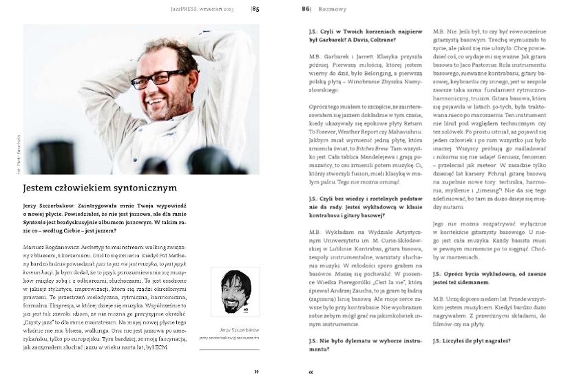Mariusz Bogdanowicz wywiad JazzPress 9/2013